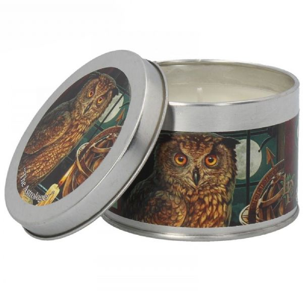 LISA PARKER The Astrologer Owl Tin Candle by Nemesis Now